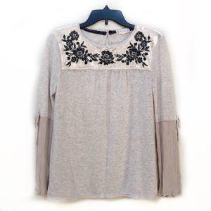 Altard State Cream Velvet Shirt Bell Sleeve S